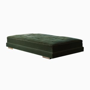 Vintage Art Deco Danish Green Velour Daybed, 1930s