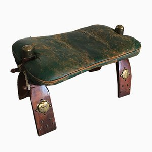 Vintage Regency Rosewood and Green Leather Camel Saddle Ottoman, 1950s