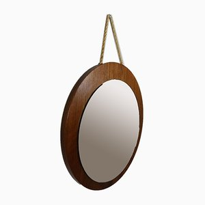 Teak Wall Mirror with Rope Wall Fastening, 1960s