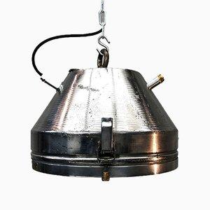 Industrielle deutsche Mid-Century Deckenlampe aus Eisen & Aluminium von VEB