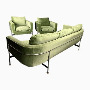 Mobilier de Salon Vert Avocado par Jacques Brule, France, 1960s, Set de 3