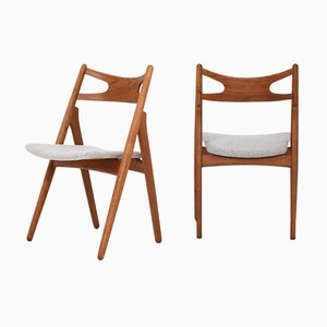 Teak Model CH29 Sawbuck Chairs by Hans J. Wegner for Carl Hansen & Søn, 1950s, Set of 6