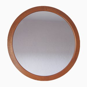 Mid-Century Danish Teak Round Mirror from Aksel Kjersgaard