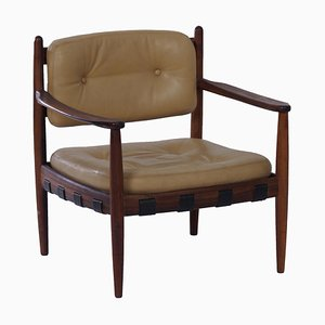 Swedish Leather & Rosewood Cadett Armchair by Eric Merthen for Ire Möbel, 1960s