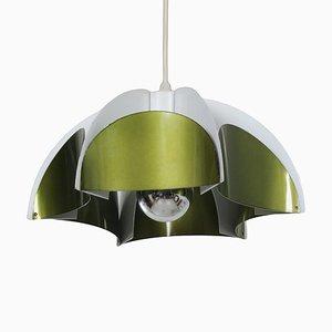 Metal Hanging Lamp in Metallic Green from Volkslux, 1960s