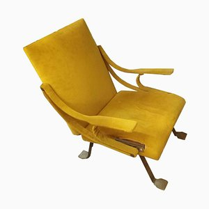 Digamma Armchair in Yellow Fabric by Ignazio Gardella for Gavina, 1957