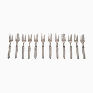 Hans Hansen Art Deco Number 16 Pastry Forks in Silver, 1942, Set of 12