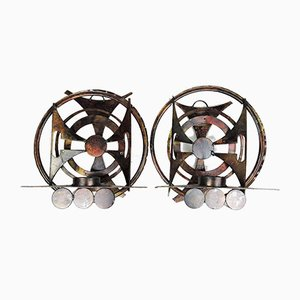 Mid-Century Brutalist Abstract Iron Candleholders or Sconces by Henrik Horst, 1960s, Set of 2