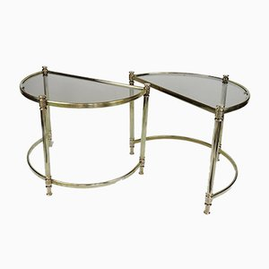 Vintage Hollywood Regency Semi Circle Brass Side Tables, 1970s, Set of 2