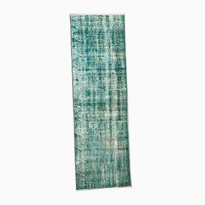 Turkish Narrow Overdyed Blue Wool Distressed Runner Rug, 1950s