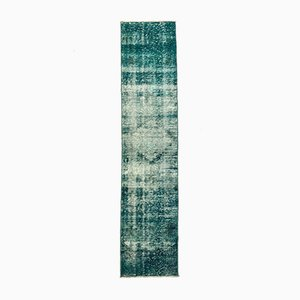 Turkish Narrow Overdyed Green Wool Distressed Runner Rug, 1950s
