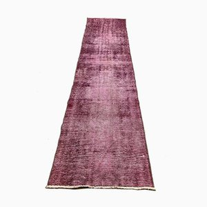 Turkish Narrow Overdyed Purple Wool Distressed Runner Rug, 1950s