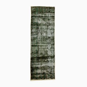 Turkish Overdyed Black Wool Distressed Runner Rug, 1950s