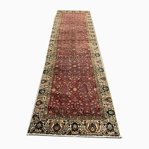 Turkish Tribal Floral Red, & Beige Wool Distressed Runner Rug, 1950s