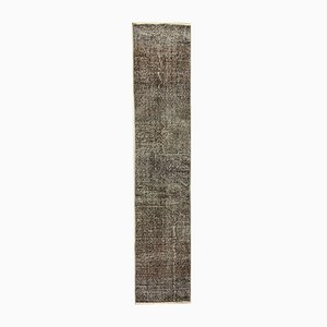 Turkish Overdyed Brown Wool Distressed Runner Rug, 1950s
