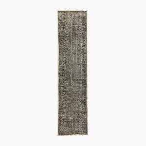 Turkish Overdyed Black Wool Distressed Runner Rug, 1950s