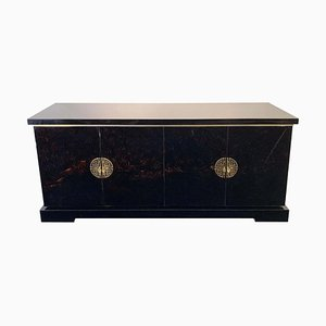 Black and Gold Lacquered Wood Sideboard with Chinoiseries Door Handles, 1970s