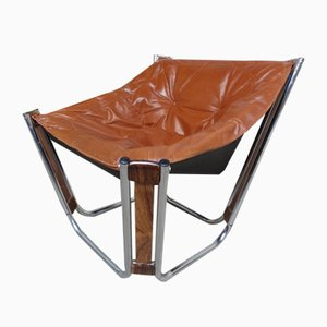 Danish Brown Leather, Chrome, and Rosewood Armchair by Ingmar Relling for Westnofa, 1970s