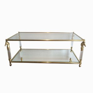 Brass and Lucite Coffee Table with Horse Head Motifs, 1960s
