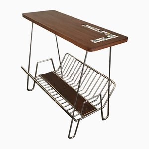 Mid-Century Teak and Metal Side Table with Magazine Rack, 1950s