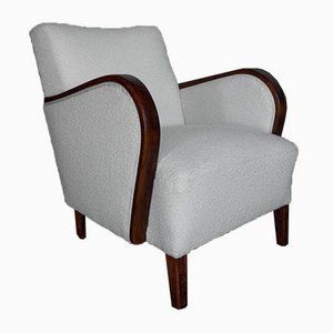 Scandinavian White Boucle Armchair, 1950s