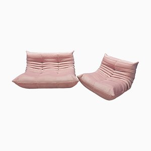 Pink Velvet Togo Sofas by Michel Ducaroy for Ligne Roset, 1970s, Set of 2