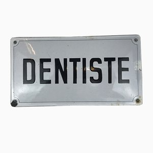 Französisches Emailliertes Metall Zahnarzt- oder Dentiste Schild, 1950er