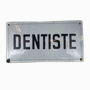 Panneau Dentiste ou Dentiste en Métal Émaillé, France, 1950s