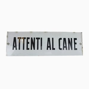 Italian Enameled Metal Beware of Dog or Attenti al Cane Sign, 1950s