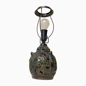 Danish Ceramic Hunting Motifs Table Lamp from Lauritz Hjorth, 1920s