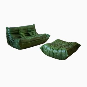Green Leather Togo Armchair and Pouf Set by Michel Ducaroy for Ligne Roset, 1970s