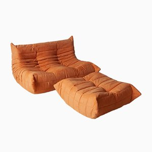 Orange Microfiber Togo Armchair and Pouf Set by Michel Ducaroy for Ligne Roset, 1970s