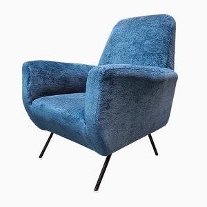 Italian Blue Velvet and Metal Lounge Chairs, 1960s, Set of 2