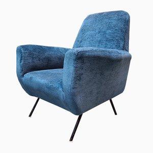 Italienische Sessel aus Blauem Samt & Metall, 1960er, 2er Set