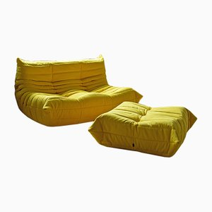 Yellow Microfiber Togo Armchair and Pouf Set by Michel Ducaroy for Ligne Roset, 1970s