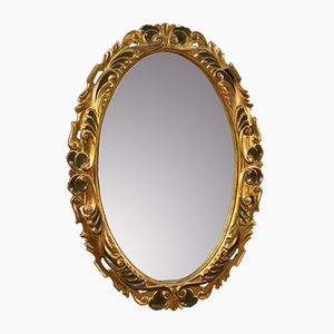 Italian Lacquered and Gilded Oval Mirror, 1960s