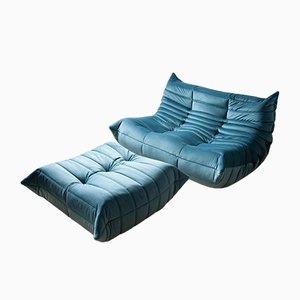 Blue Sea Velvet Togo Armchair and Pouf Set by Michel Ducaroy for Ligne Roset, 1970s