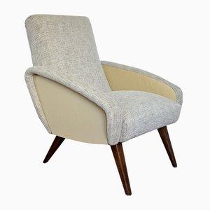 Französische Vintage Sessel und Ledersessel, 1950er, 2er Set