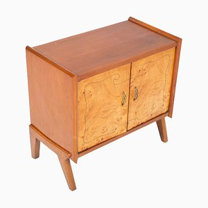 Mid-Century Blond Walnut, Burl Birch, and Inlay Threaded Cabinet by Paolo Buffa for La Permanente Mobili Cantù, 1940s