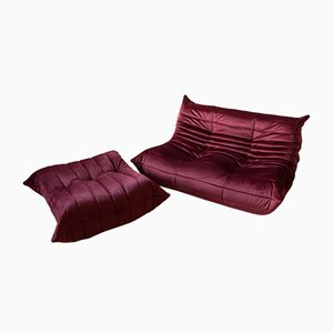 Burg Velvet Togo Armchair and Pouf Set by Michel Ducaroy for Ligne Roset, 1970s