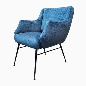 Small Italian Blue Velvet Lounge Chair, 1960s
