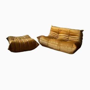 Goldenrod Velvet Togo Armchair and Pouf Set by Michel Ducaroy for Ligne Roset, 1970s