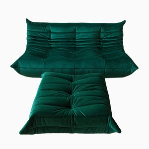 Green Velvet Togo Armchair and Pouf Set by Michel Ducaroy for Ligne Roset, 1970s