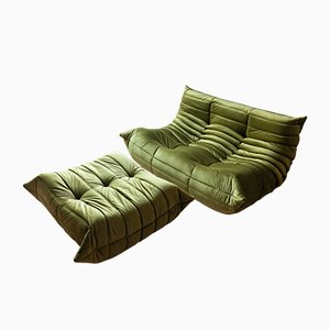 Olive Green Velvet Togo Armchair and Pouf Set by Michel Ducaroy for Ligne Roset, 1970s