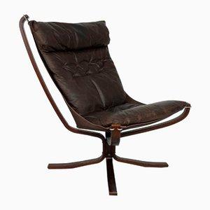 Brauner Leder Falcon Chair von Sigurd Ressell, 1960er