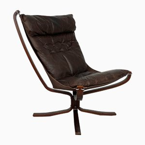 Brown Leather Falcon Chair by Sigurd Ressell, 1960s
