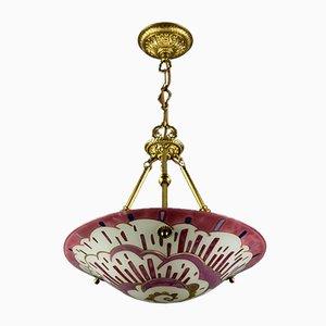 Art Deco Enameled Glass Pendant Lamp by Maxonade Paris, 1930s