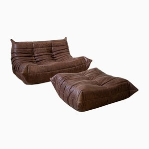 Brown Leather Togo Armchair and Pouf Set by Michel Ducaroy for Ligne Roset, 1970s