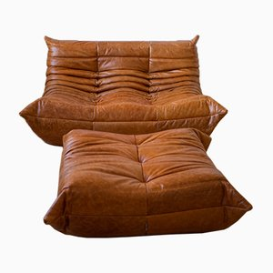Pine Leather Togo Armchair and Pouf Set by Michel Ducaroy for Ligne Roset, 1970s