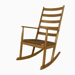 Rocking Chair Mid-Century en Hêtre et Corde, 1960s